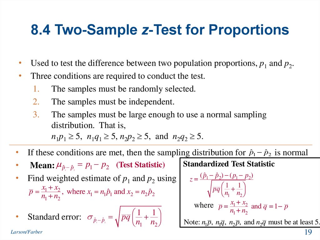 8.4 Two-Sample z-Test for Proportions