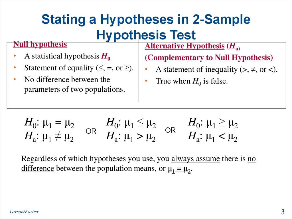 Stating a Hypotheses in 2-Sample Hypothesis Test