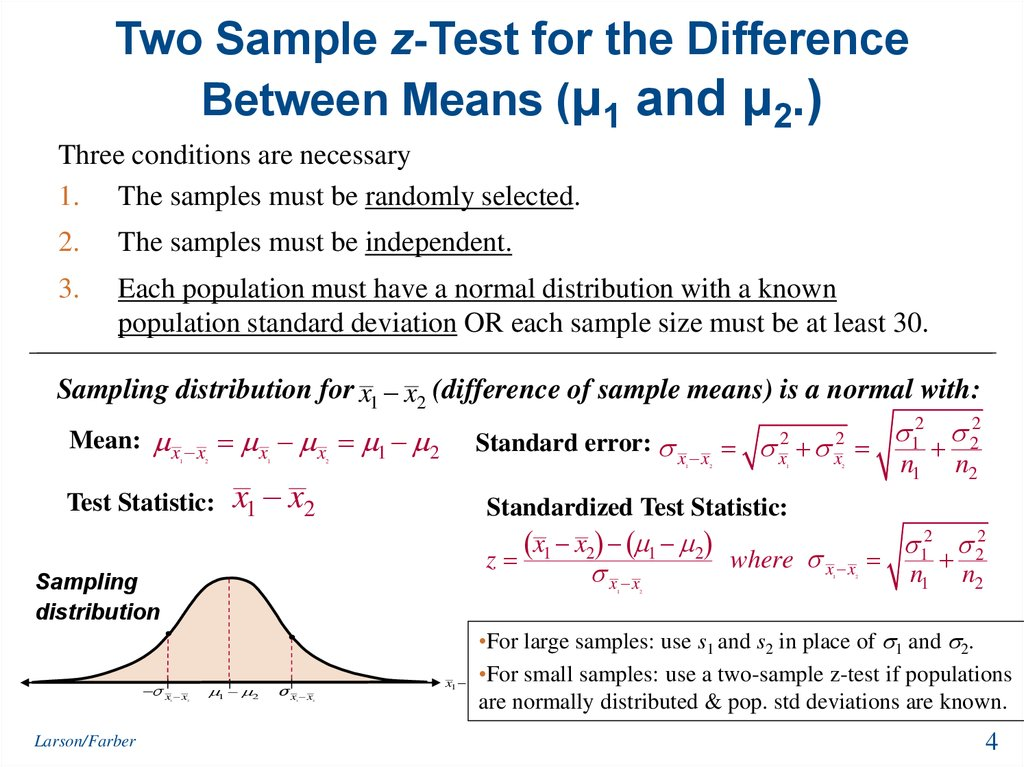 Two Sample z-Test for the Difference Between Means (μ1 and μ2.)