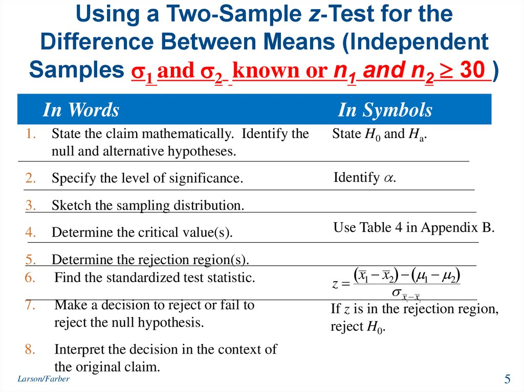 Using a Two-Sample z-Test for the Difference Between Means (Independent Samples 1 and 2 known or n1 and n2  30 )