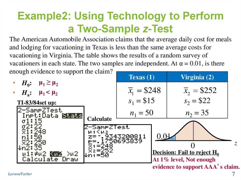 Example2: Using Technology to Perform a Two-Sample z-Test