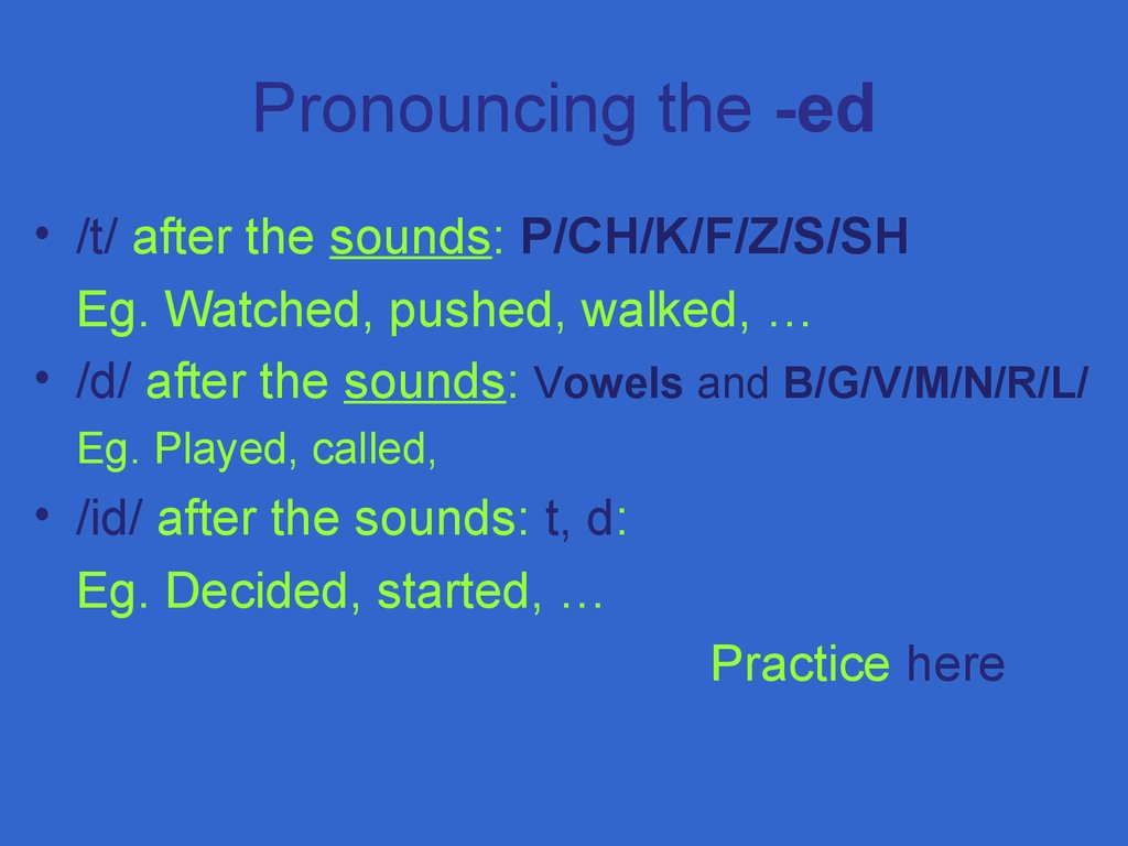 Pronouncing the -ed