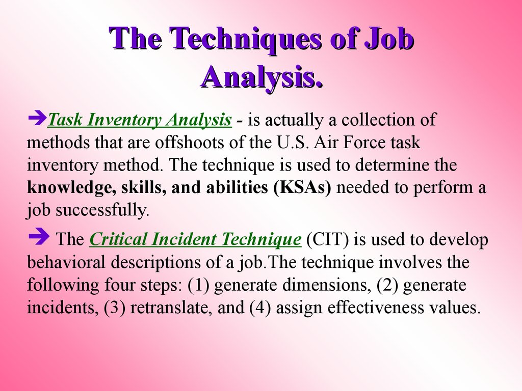 The Techniques of Job Analysis.