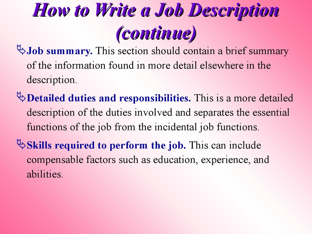 How to Write a Job Description (continue)