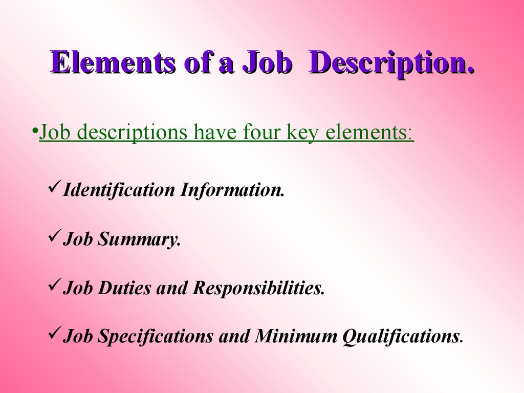 Elements of a Job Description.