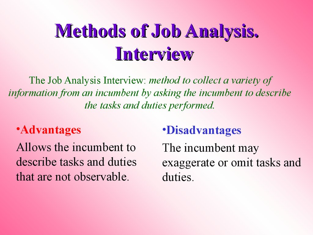 Methods of Job Analysis. Interview