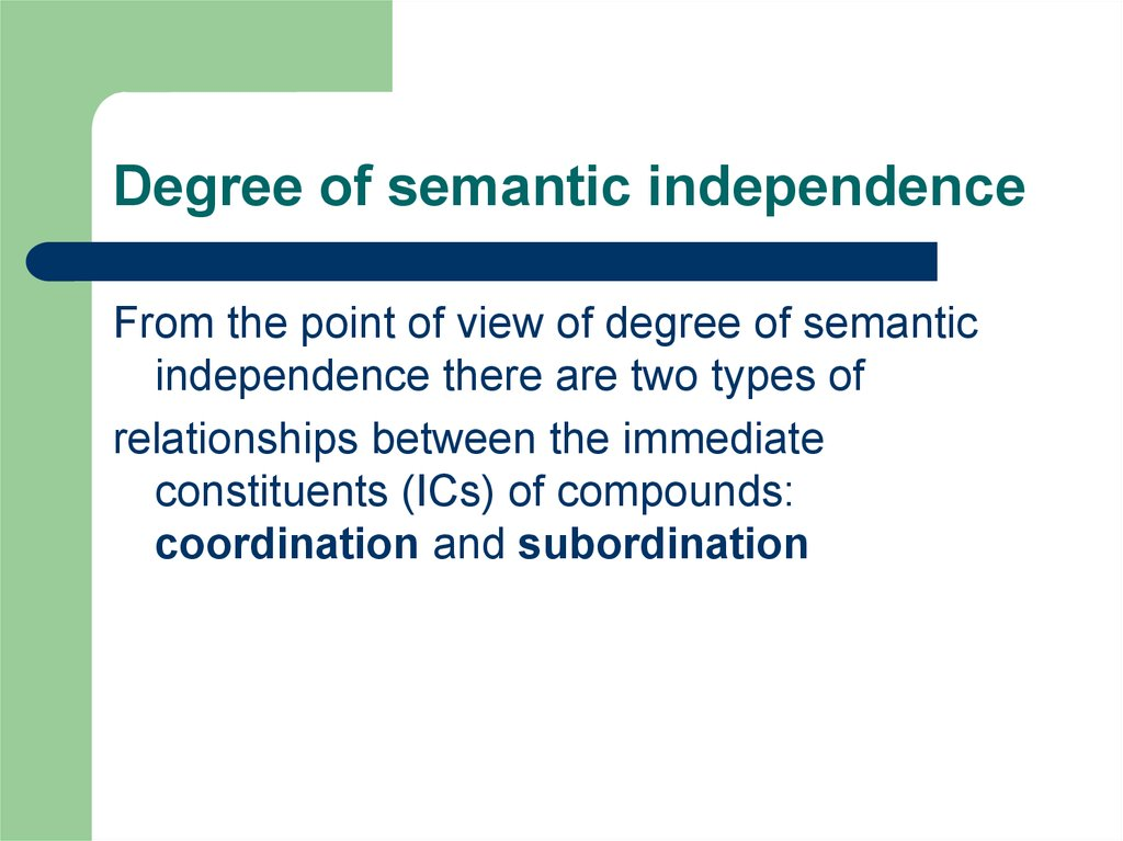 Degree of semantic independence