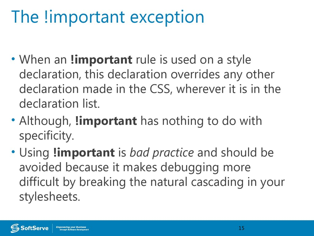 The !important exception