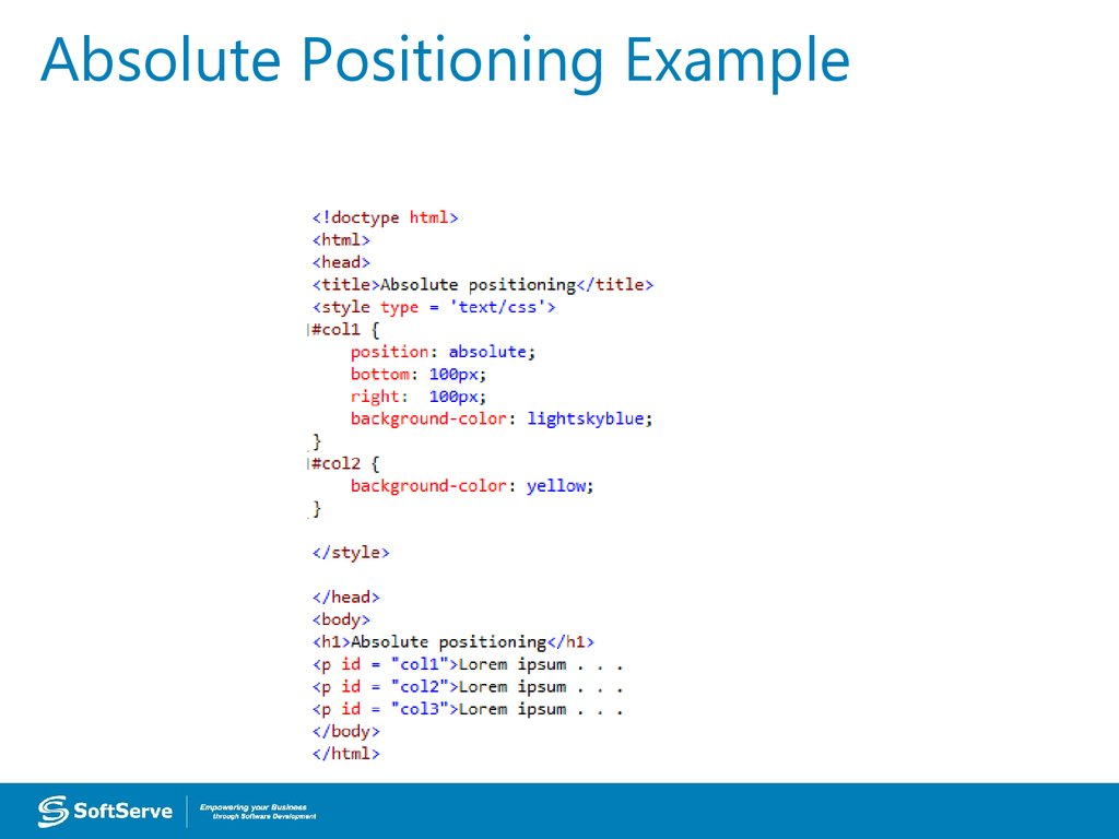 Absolute Positioning Example