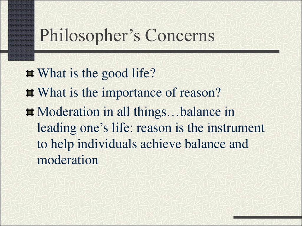 Philosopher's Concerns
