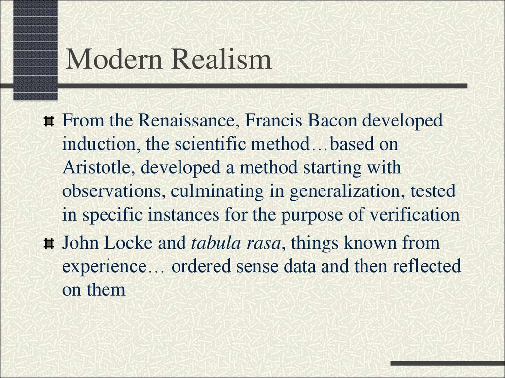modernism vs realism essay Modernism & conservatism hart's essay seemingly won no converts—a symposium of reactions there is a deep connection between modernism and conservatism.