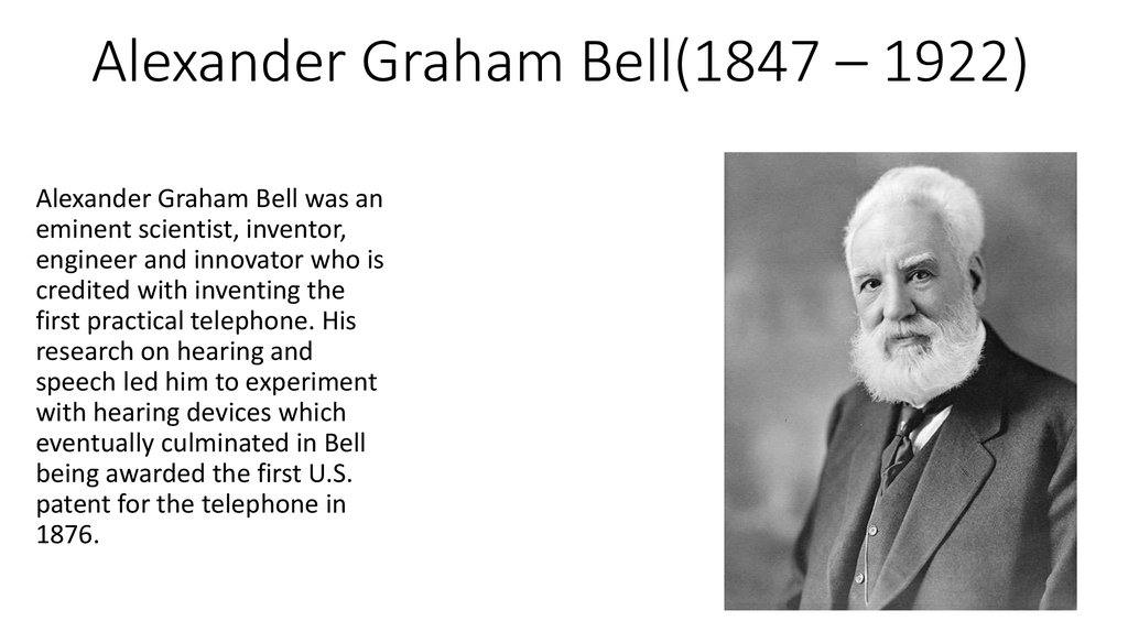 essay on alexander graham bell telephone Free essay: in march 3, of 1847 the great inventor alexander graham bell was born his father was professor alexander melville bell, and his mother was eliza.