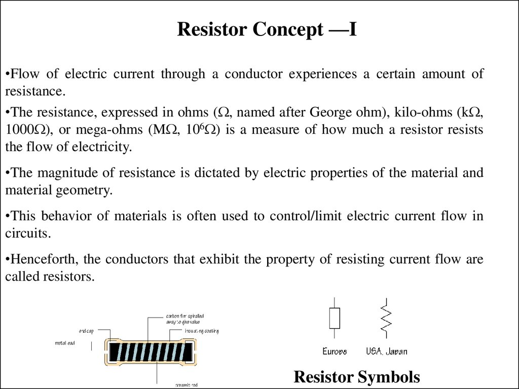 Introduction To Electricity Online Presentation Resistor Symbols Colour Code Tolerance Power Ratings Resistance Concept I