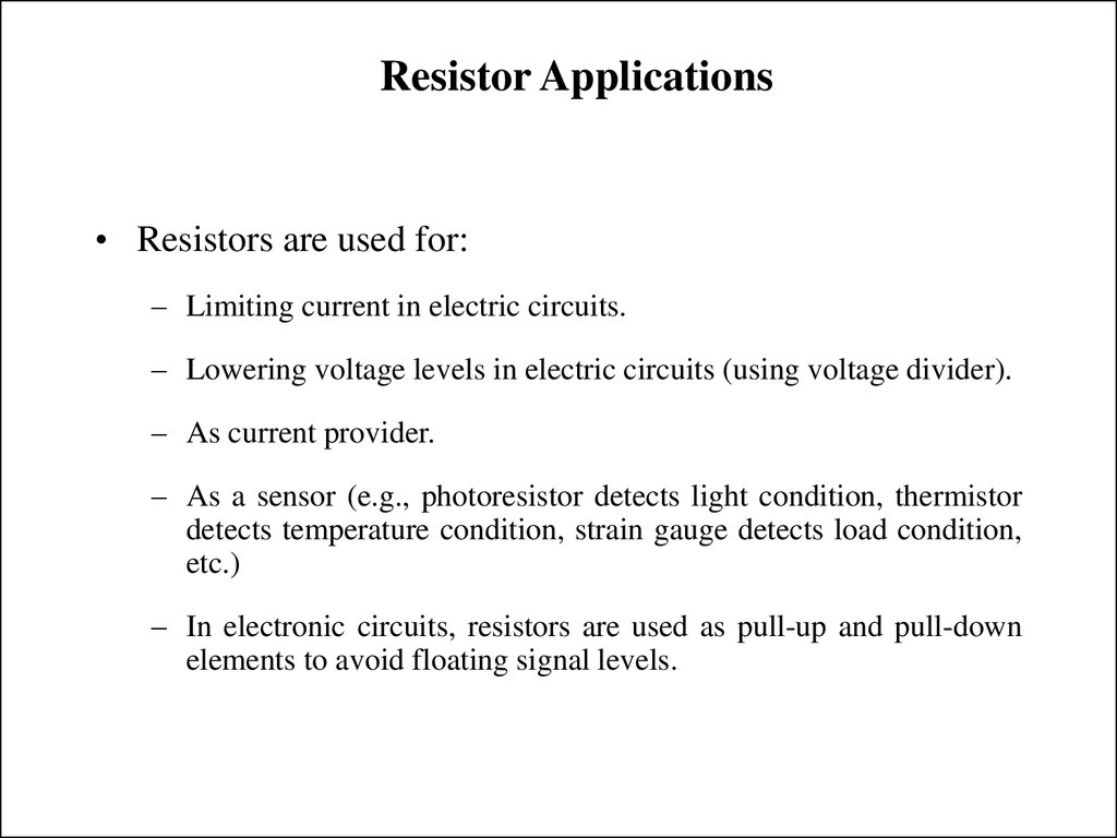 Resistor Applications