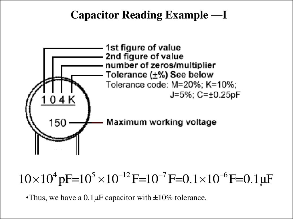 Capacitor Reading Example —I