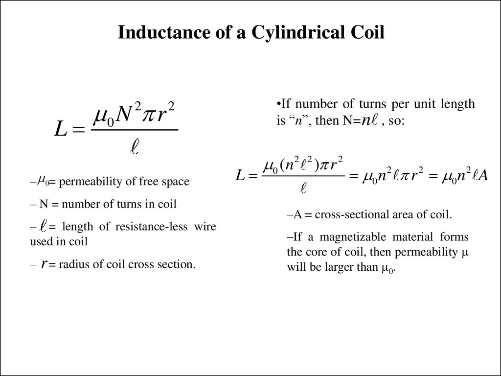 Inductance of a Cylindrical Coil