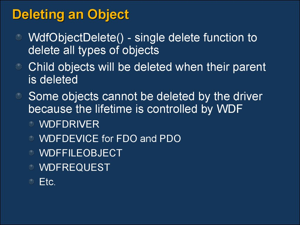 Deleting an Object