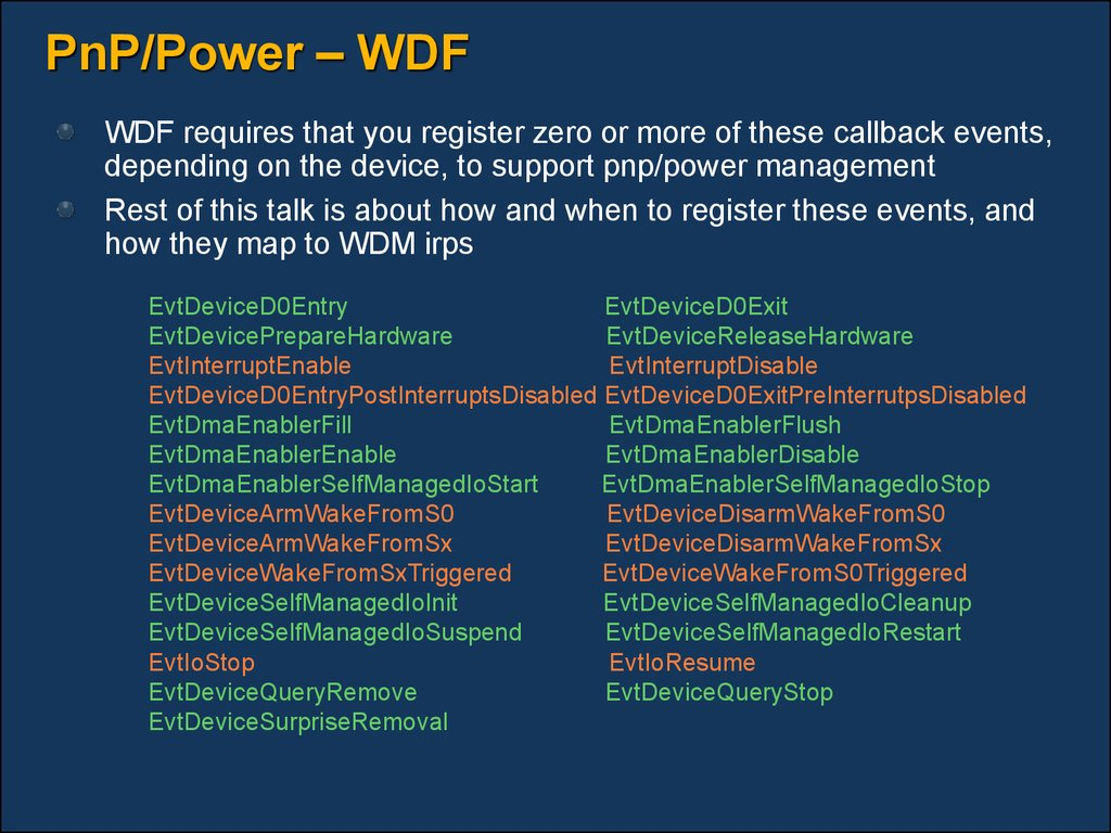 PnP/Power – WDF