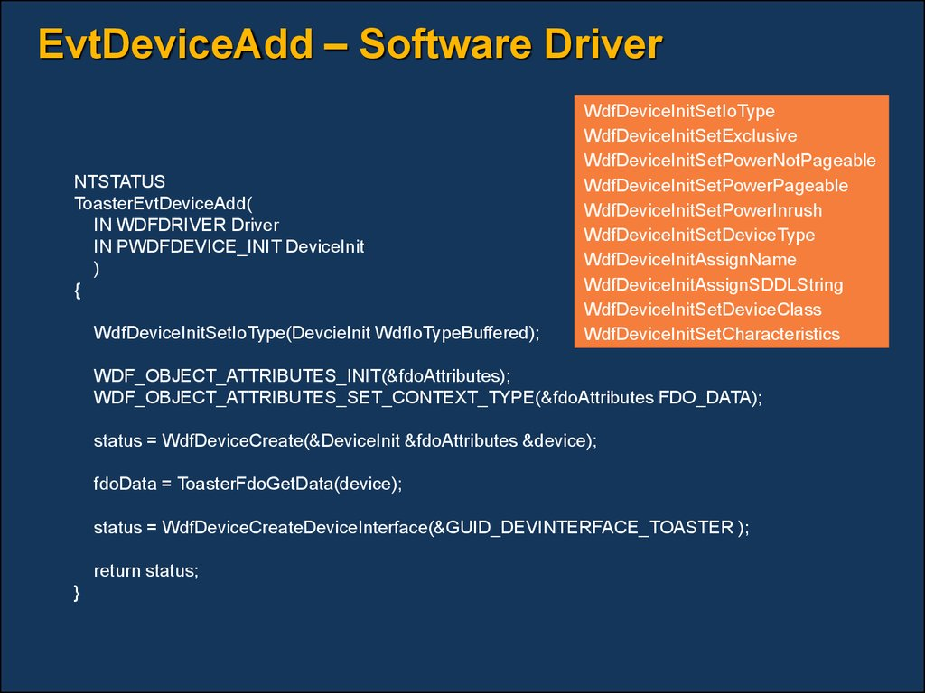 EvtDeviceAdd – Software Driver