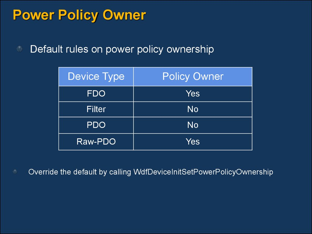 Power Policy Owner