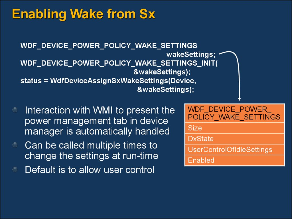 Enabling Wake from Sx