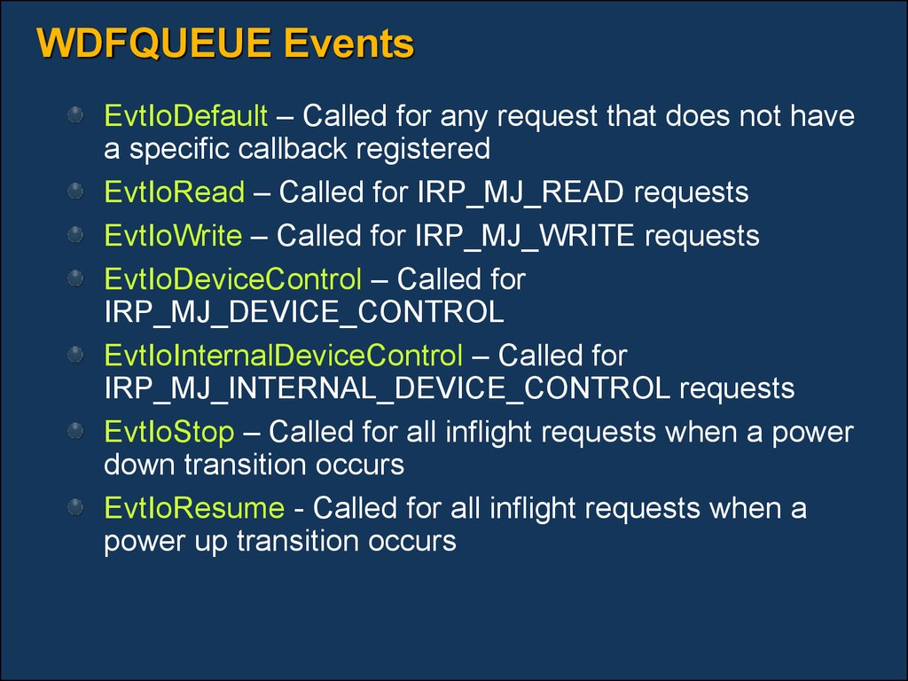 WDFQUEUE Events