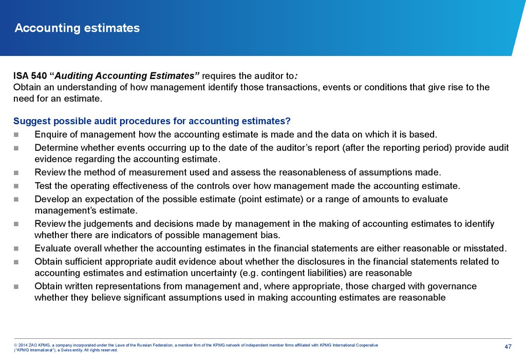 Accounting estimates