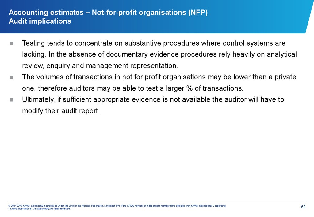Accounting estimates – Not-for-profit organisations (NFP) Audit implications