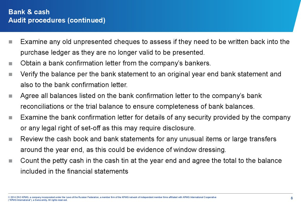 Bank & cash Audit procedures (continued)