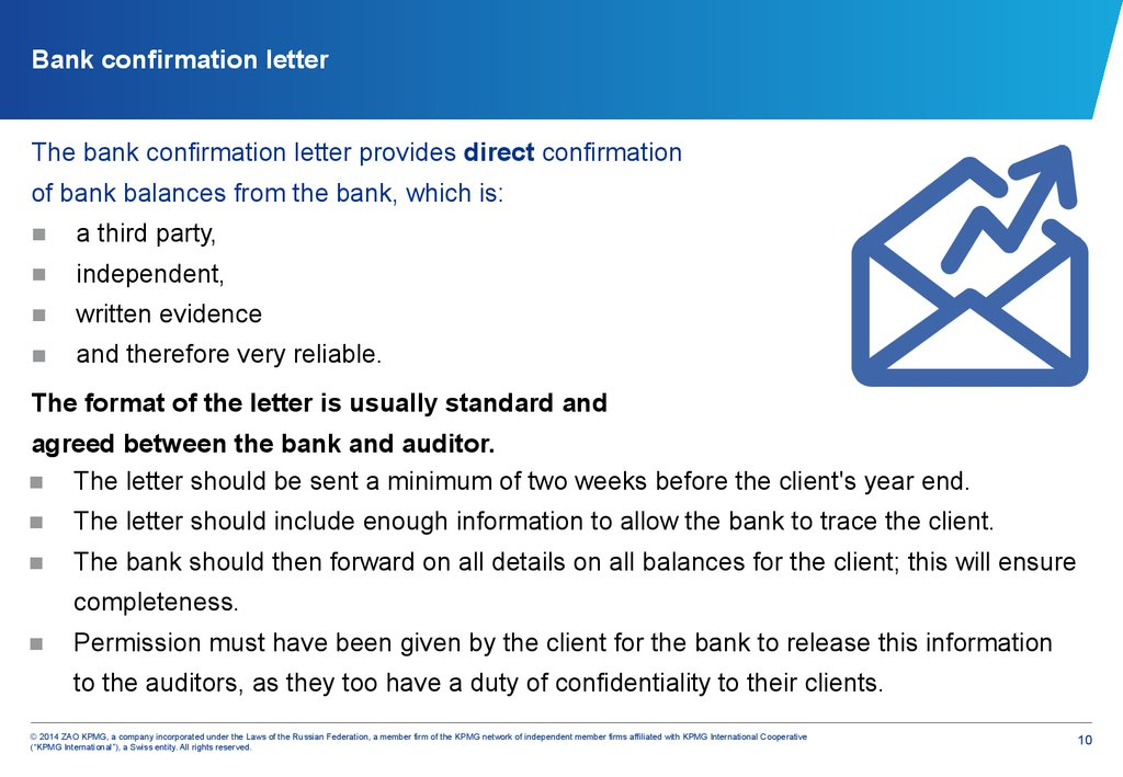 Bank confirmation letter