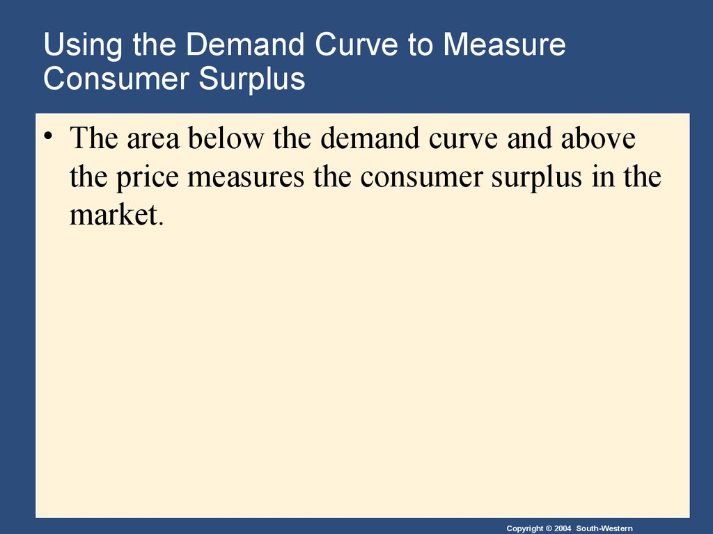 Using the Demand Curve to Measure Consumer Surplus