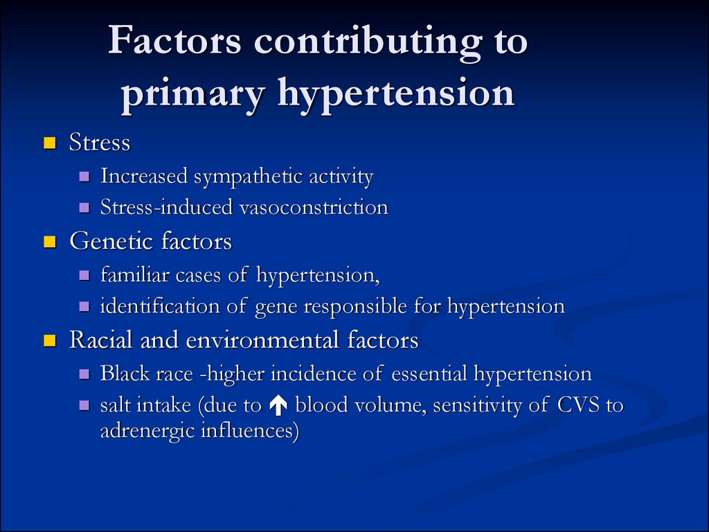 Factors contributing to primary hypertension