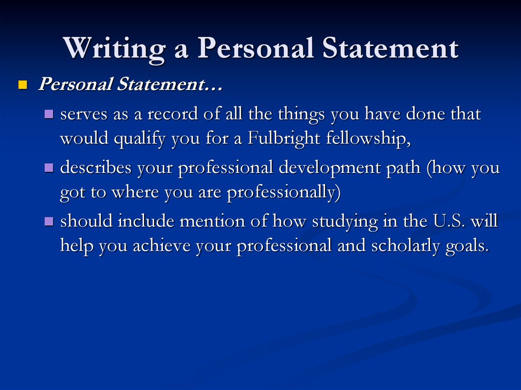 personal goal statement essay We've provided these successful grad school sample essays to stimulate your creativity when you sit down to your write your own essay note the consistent structure of these compelling personal statements.