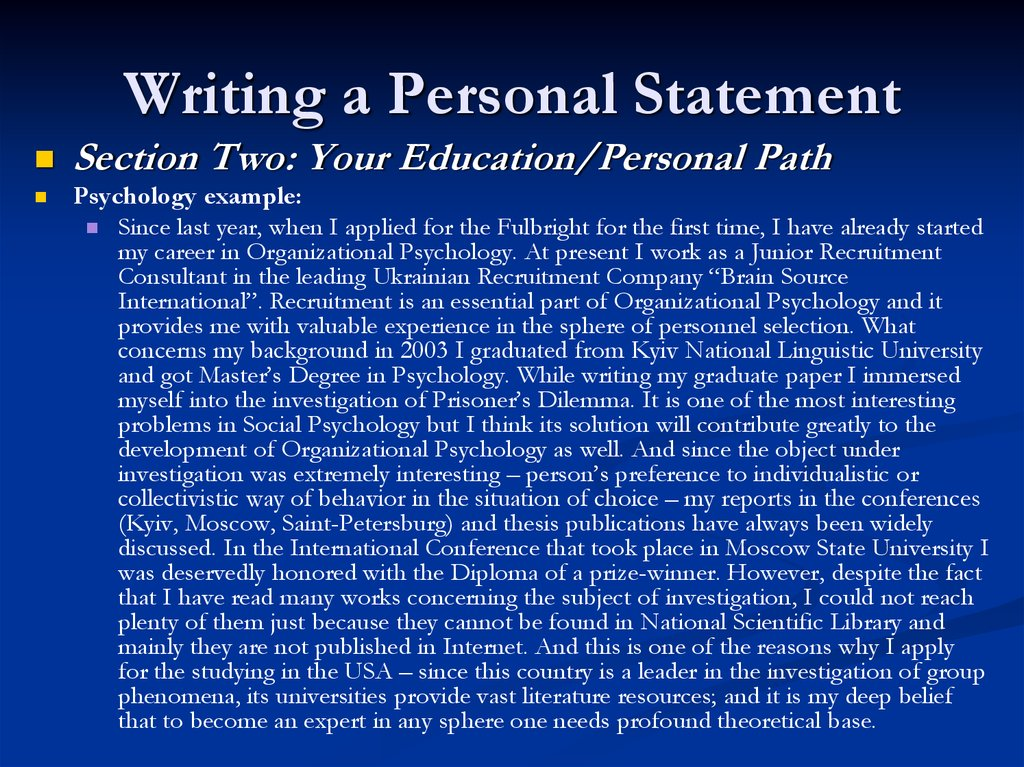 tips for writing personal statement Writers workshop: writer resources writing tips esl resources writing tips: personal statements use the personal statement as a form of introduction.
