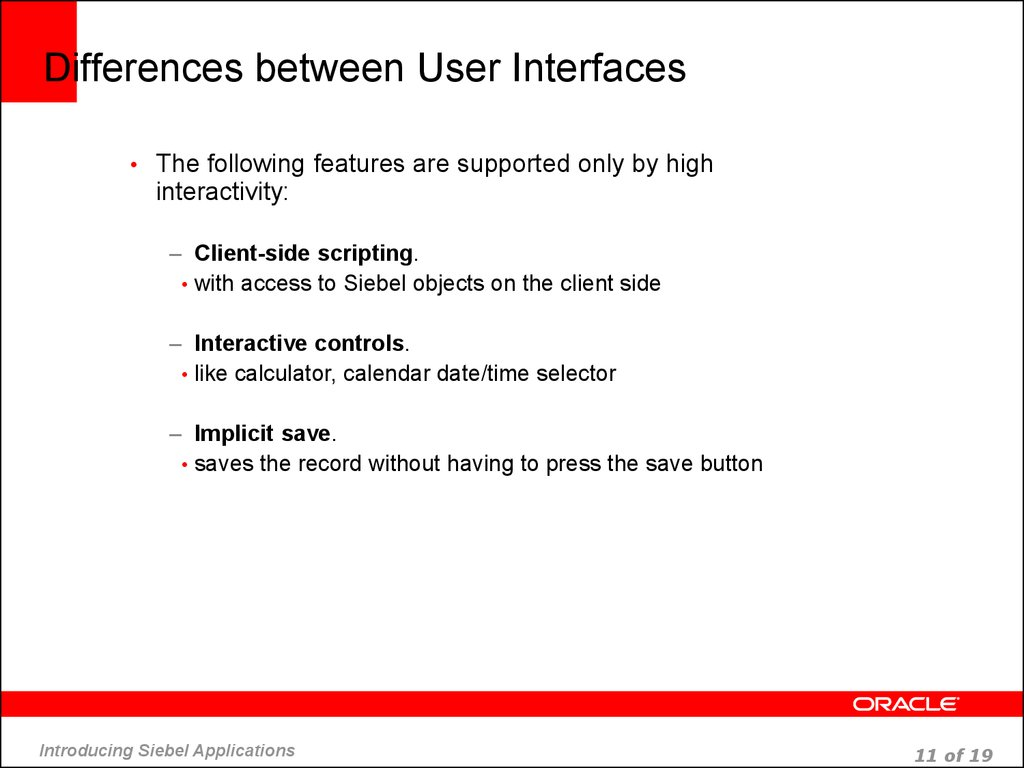 Differences between User Interfaces