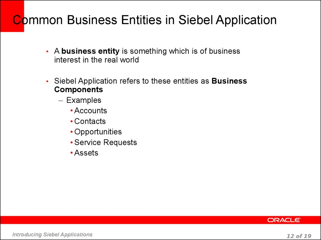 Common Business Entities in Siebel Application