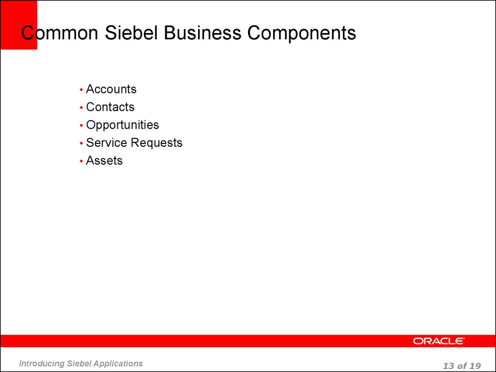 Common Siebel Business Components