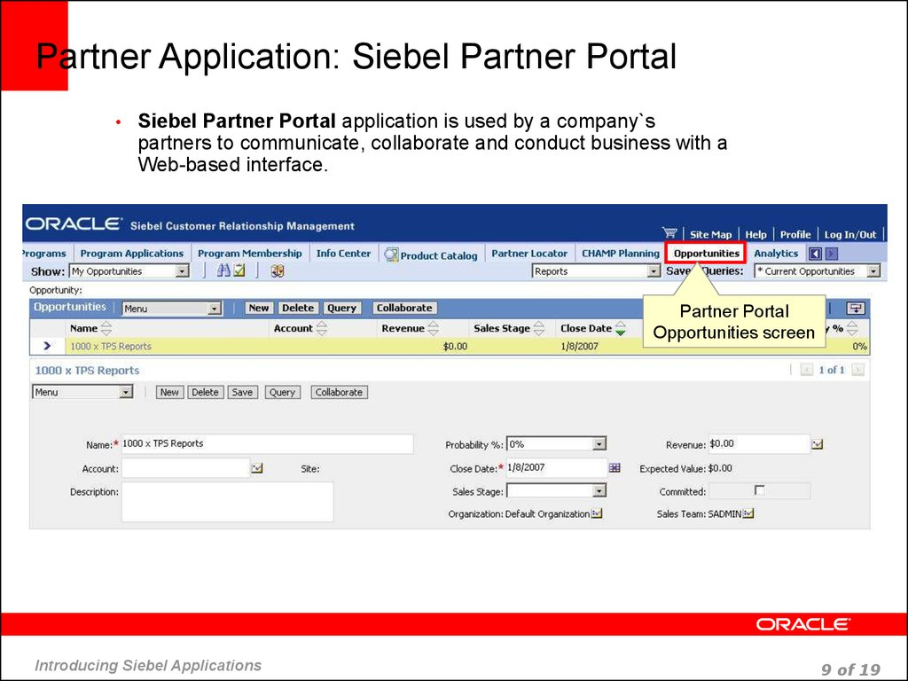 Partner Application: Siebel Partner Portal