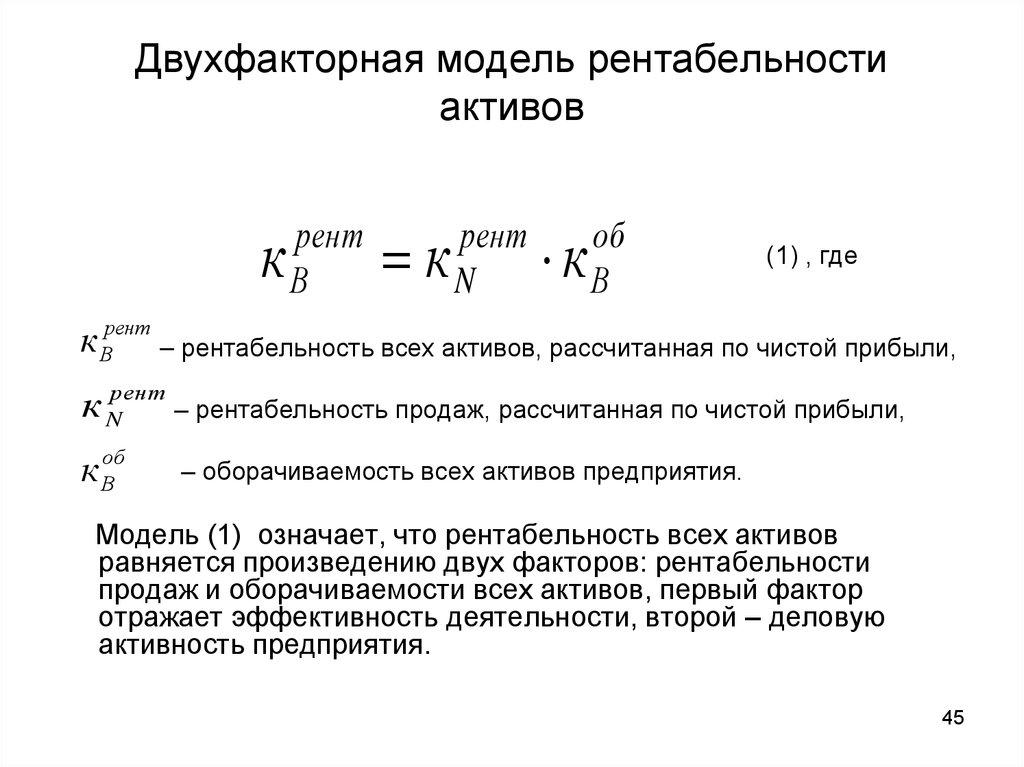 Шпаргалка факторное активов. показателей моделирование рентабельности