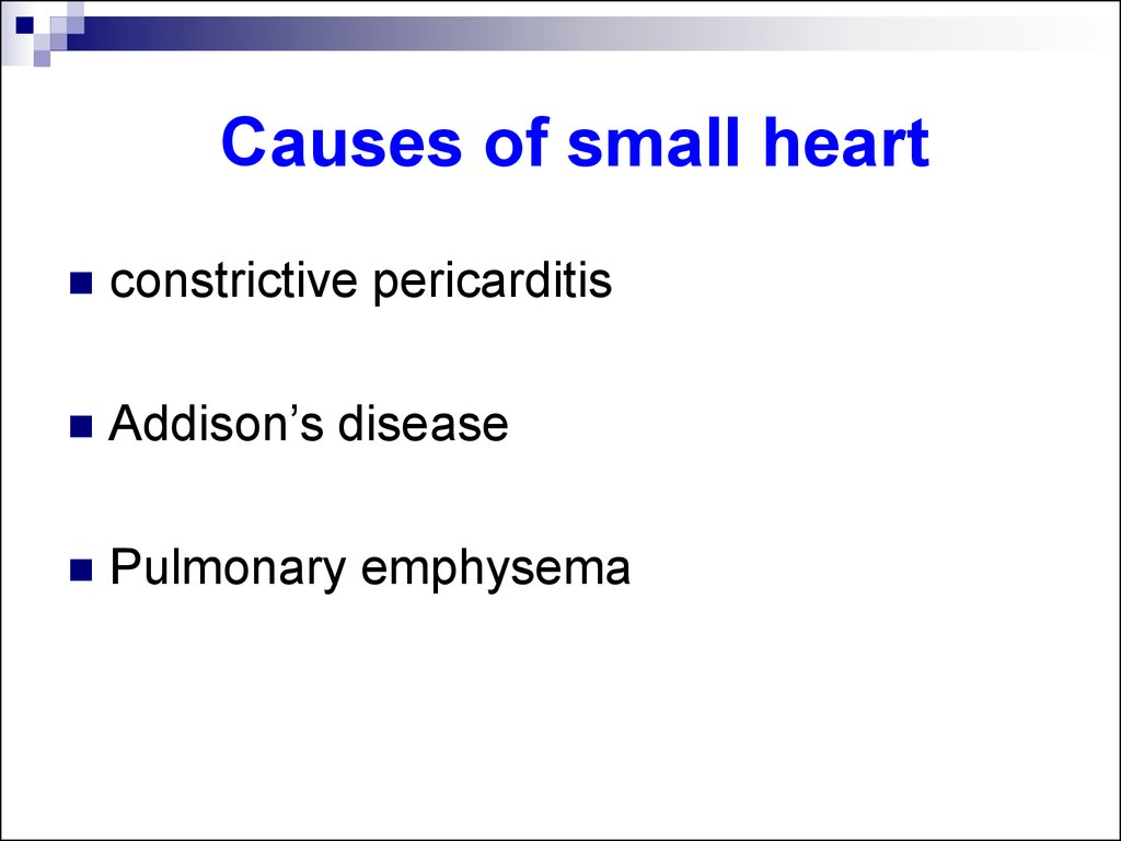 Causes of small heart