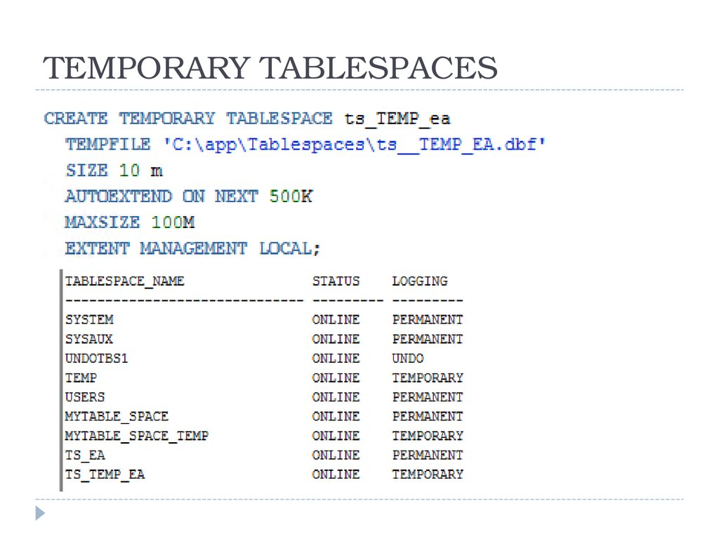 TEMPORARY TABLESPACES