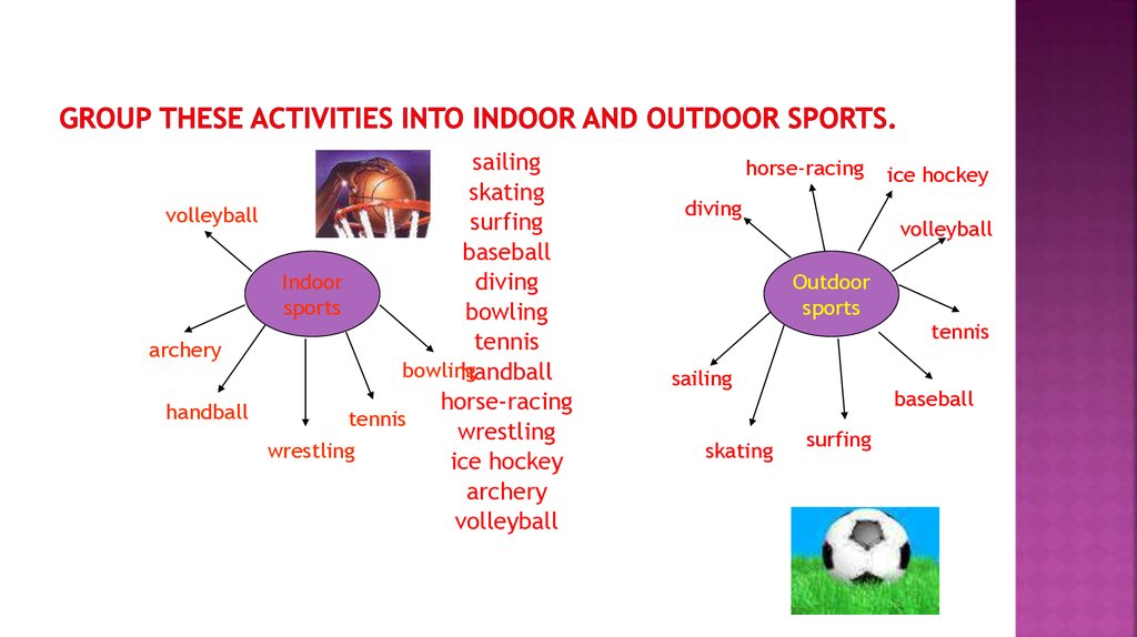 Group these activities into indoor and outdoor sports.