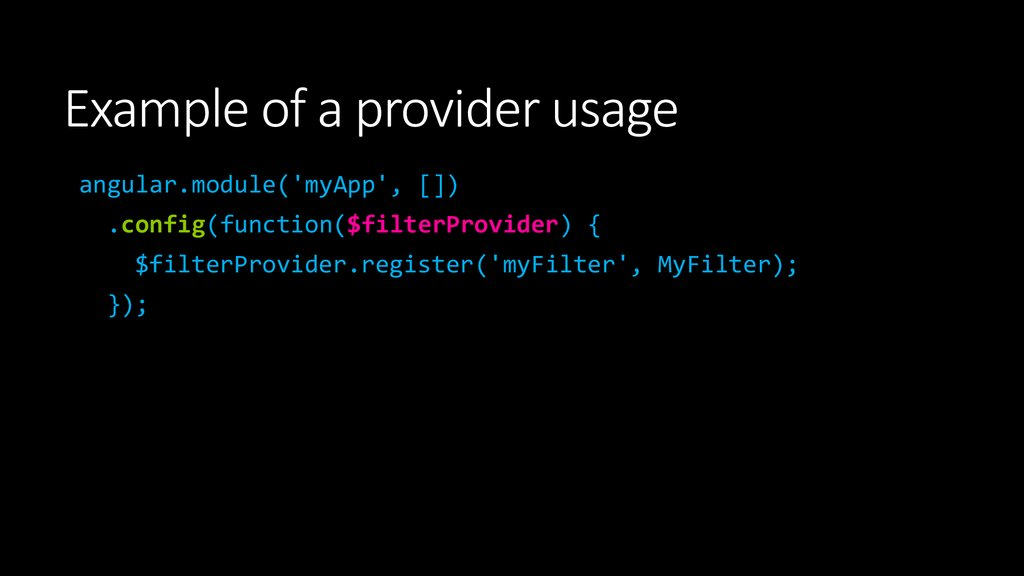 Example of a provider usage