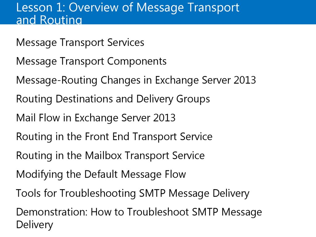 Lesson 1: Overview of Message Transport and Routing