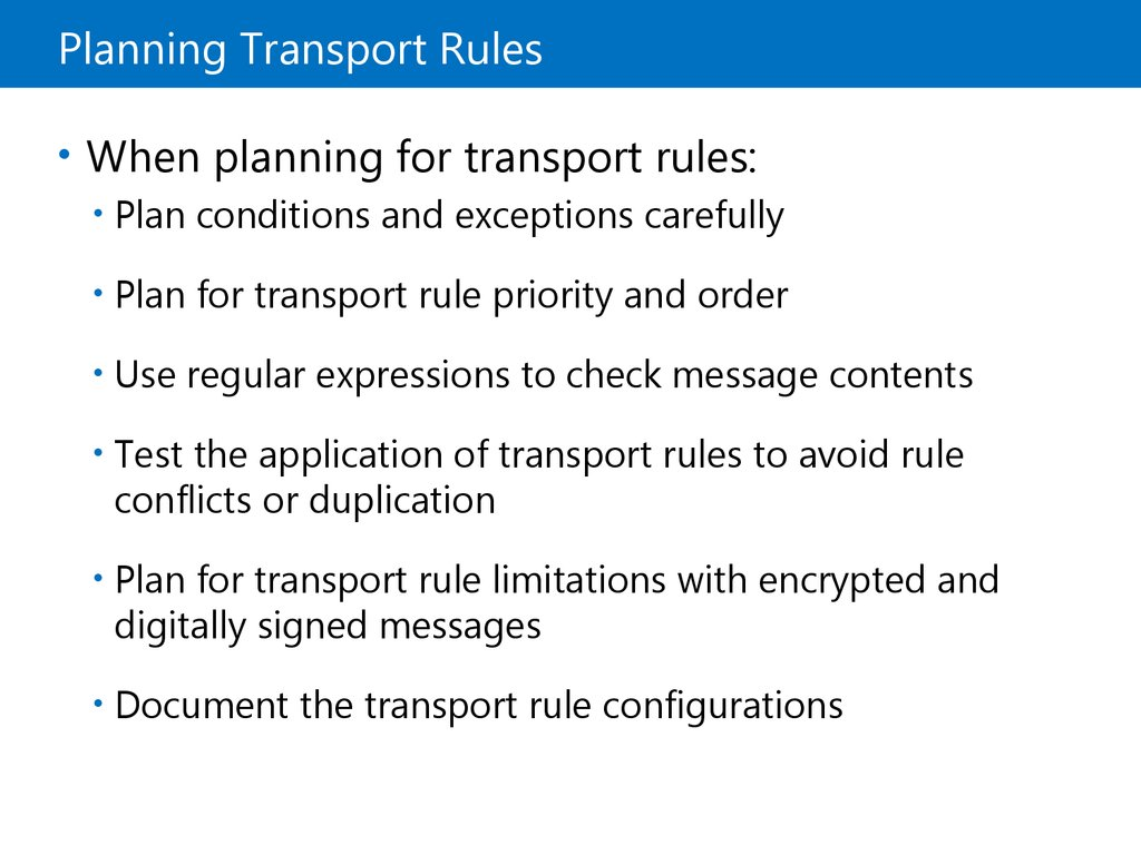 Lesson 3: Managing Transport Rules