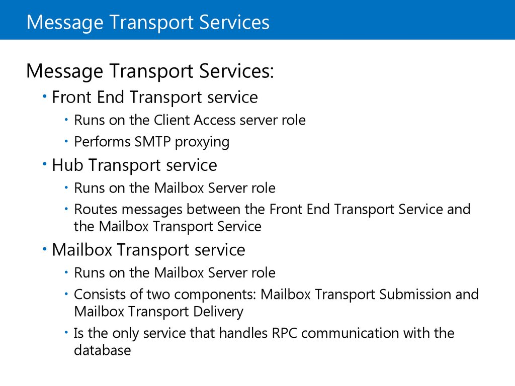 Message Transport Services