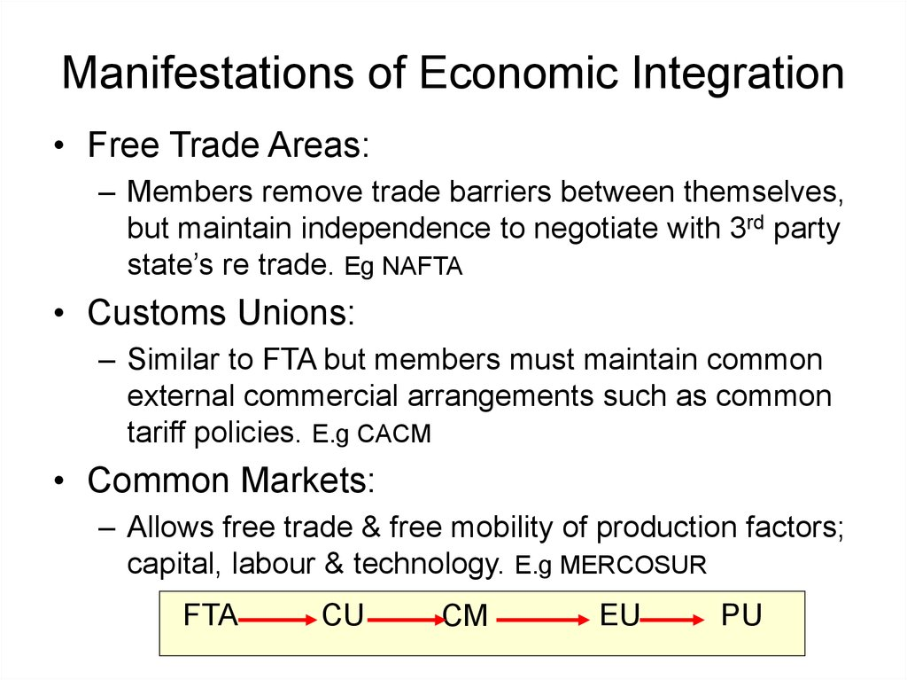 Manifestations of Economic Integration