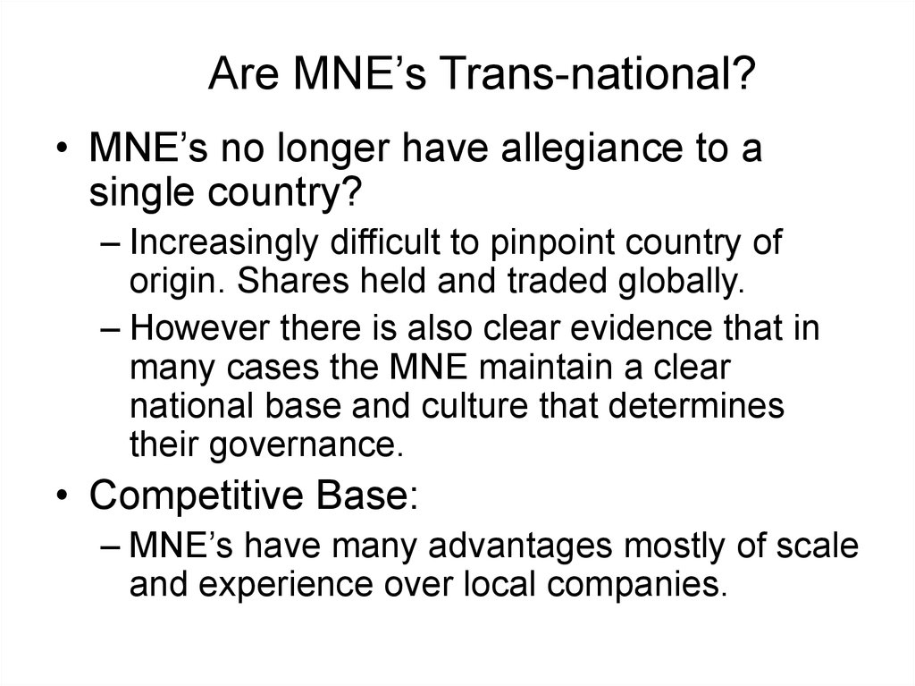 Are MNE's Trans-national?