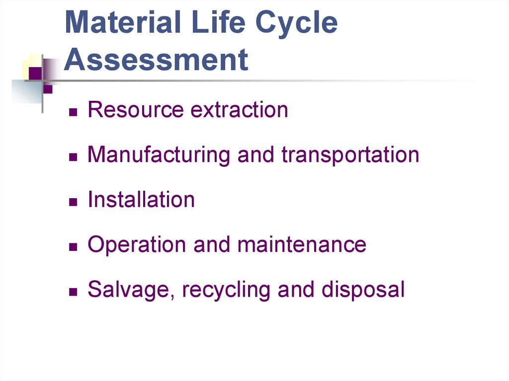 Material Life Cycle Assessment