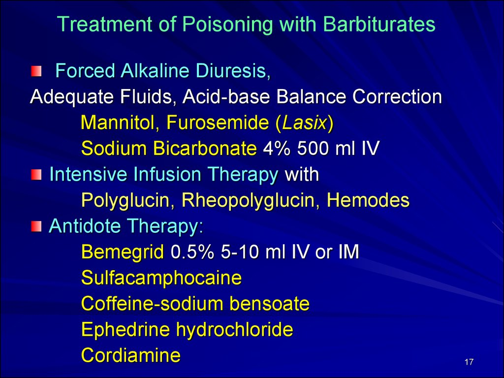 Treatment of Poisoning with Barbiturates